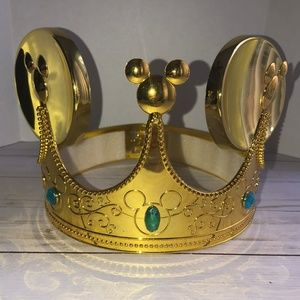 MICKEY MOUSE EARS GOLD JEWELED CROWN HAT - DISNEY